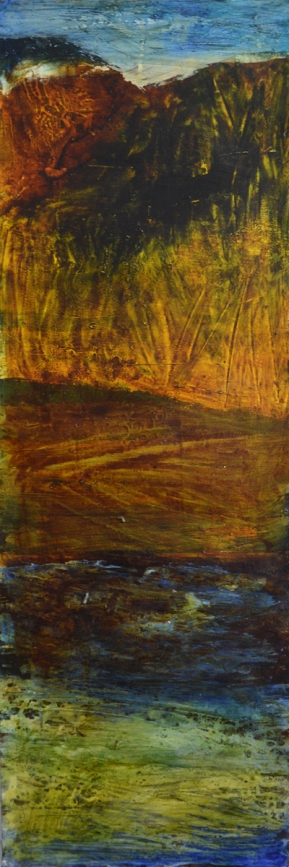 Caroline Rannersberger Gold Rock Gloaming Umber Chasm 2016 ink & acrylic on paper 120cm x 40cm