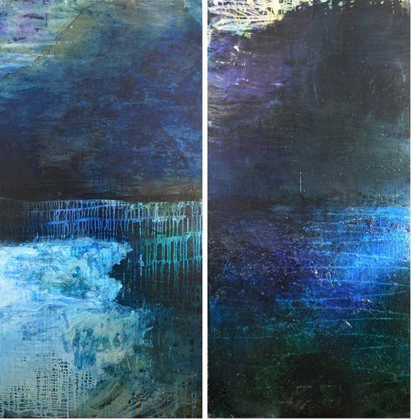 Caroline Rannersberger, Ocean Drift Escape I & II 2016, ink and acrylic on linen, 198cm x 97cm