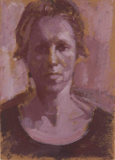 Dagmar Cyrulla, Self Portrait 11, oil on card, 18 x 11 cm