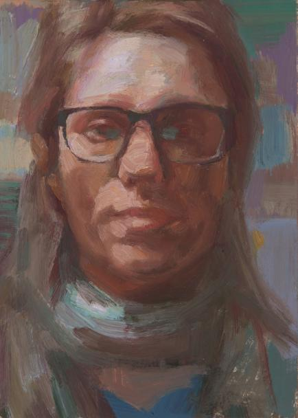 Dagmar Cyrulla, Self Portrait 6, 2016, oil on card, 18 x 13 cm
