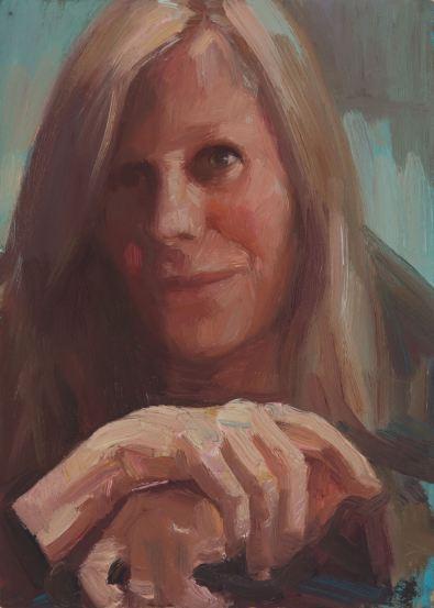 Dagmar Cyrulla, Self Portrait 7, 2016, oil on card, 18 x 13 cm