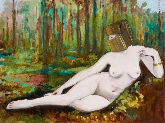Gaia Shead, LA BELLE INCONNUE, 2016, Oil on polyester canvas, 92x122cm